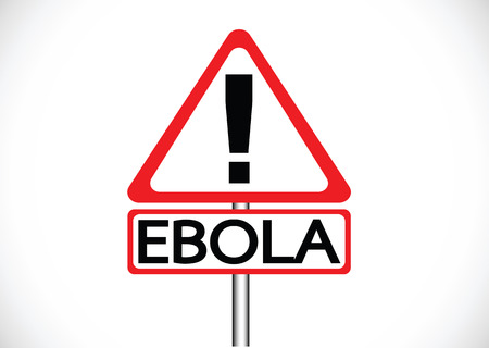 exitus: road warning exclamation point warns about Ebola virus concept  Illustration