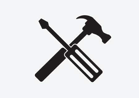 instrumentation: Tools and Hammer  icon Illustration