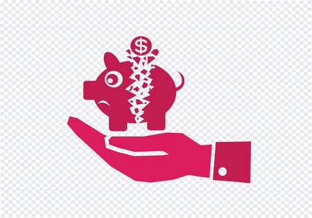 managing money: Hand and Broken Piggy Bank Illustration