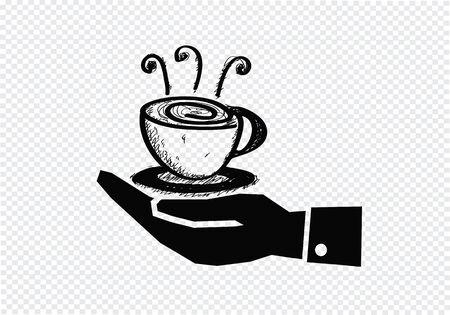 コーヒーカップ: コーヒー カップを持つ手