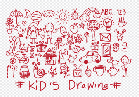 kids and childrens hand drawings Vector