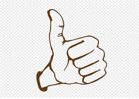 symbol hand: Daumen hoch Symbol Hand gezeichnet Illustration