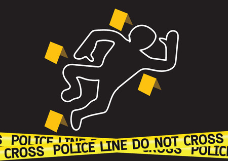 murder scene: Crime scene danger tapes illustration Illustration
