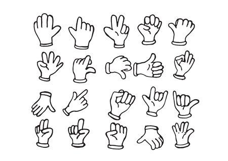 Cartoon hand gehandschoende, illustratie van de verschillende handen Vector Illustratie