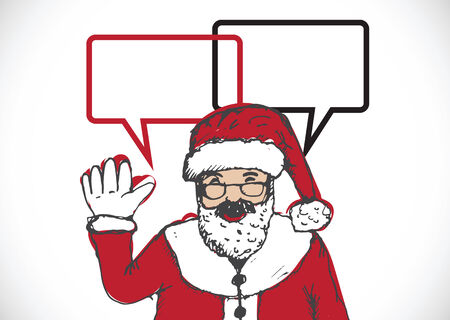 Santa Claus for Christmas hand drawn and talking Speech Bubble Vector