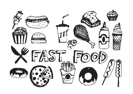 fast food icons vector symbols Ilustração