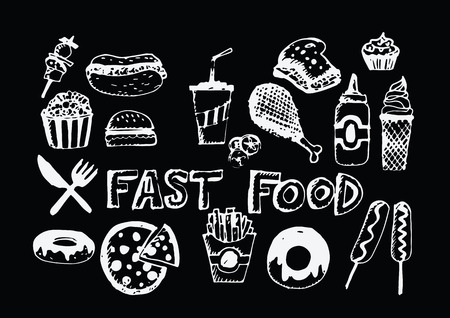 fast food icons vector symbols Vector
