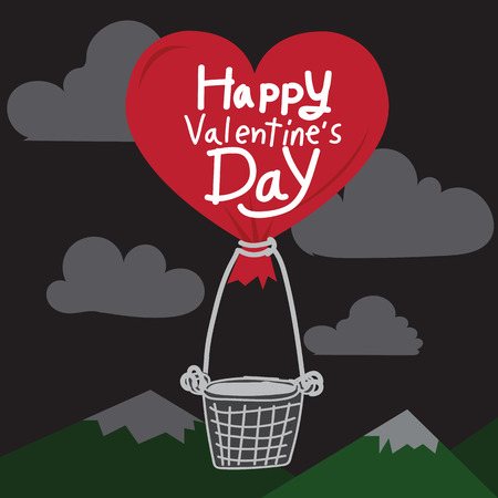 air balloon: Happy Valentines Day With heart Air Balloon Illustration