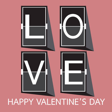 unusual valentine: Love Font on mechanical panel letters. Typography, font, type vector for Happy Valentines day Illustration