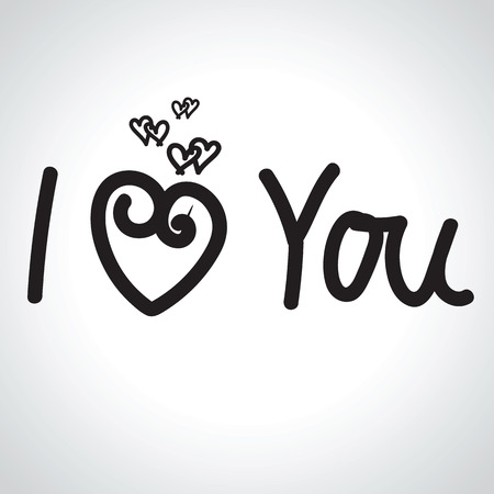 typography signature: I LOVE YOU hand lettering illustration