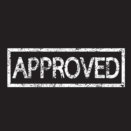 approved sign: stamp approved text illustration  Illustration