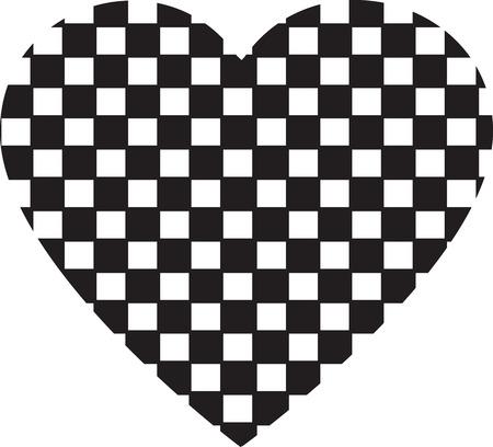 Heart shape vector design , Happy Valentines day ,Love , Checkered heart