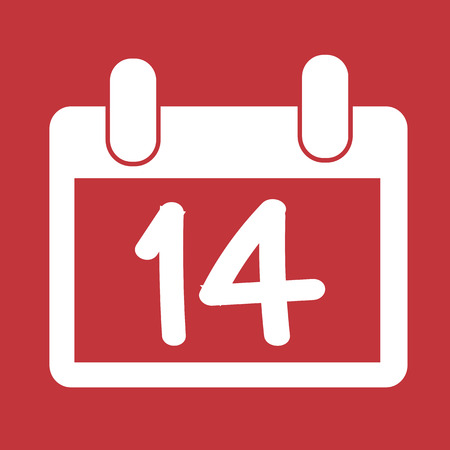 14 february ,calendar ,  valentines day icon Vector