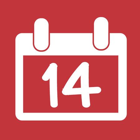 14 of february: 14 february ,calendar ,  valentines day icon Illustration