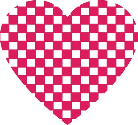 labirinth: Heart shape vector design , Happy Valentines day ,Love , Checkered heart