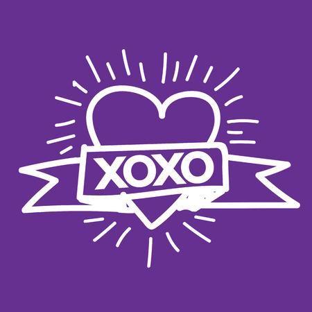 xoxo: Heart Love Xoxo , Valentines day illustration Illustration