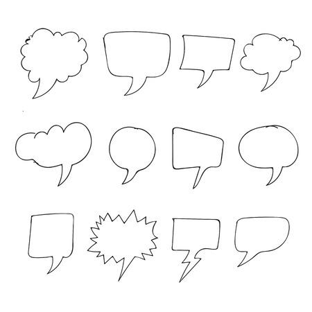 Hand drawn bubbles speech Vettoriali
