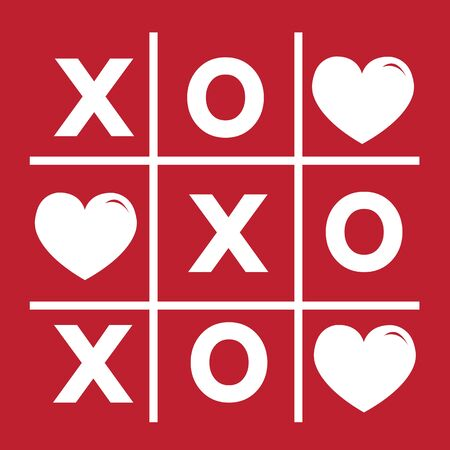 xoxo: Happy Valentines day card , Tic tac toe game ,cross , heart sign, xoxo Illustration