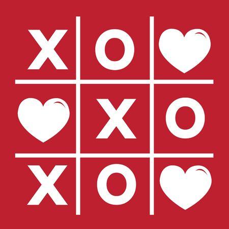 xoxo: Happy Valentines day card , Tic tac toe game ,cross , heart sign, xoxo Illustration