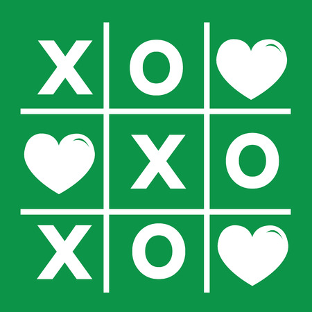 romance strategies: Happy Valentines day card , Tic tac toe game ,cross , heart sign, xoxo Illustration