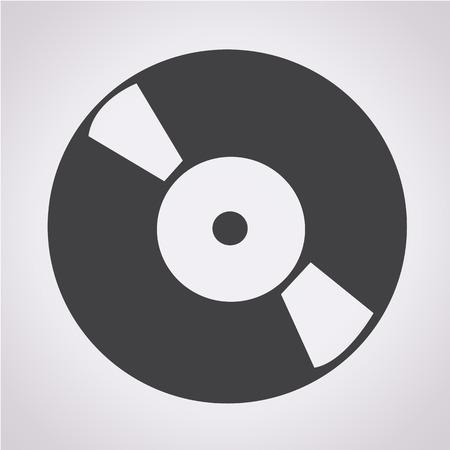Retro vinyl record icon Illustration