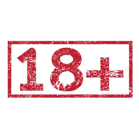 Stamp text 18+ Ilustração