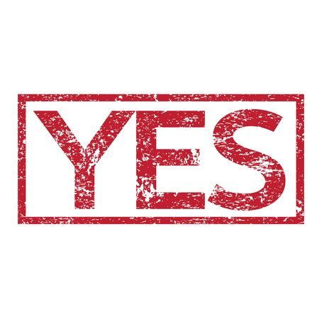 voted: Stamp text YES Illustration
