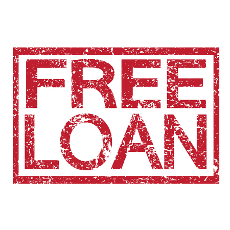 quick money: Stamp text FREE LOAN