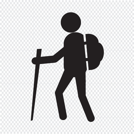man hiking: hiking icon