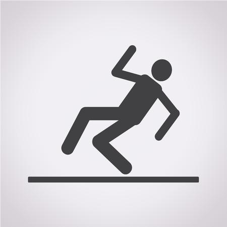 slippery floor sign icon Vector