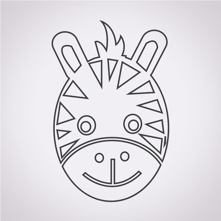 zebra face: Zebra Face Icon Illustration