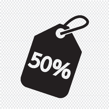 50: 50% sale price tag icon Illustration