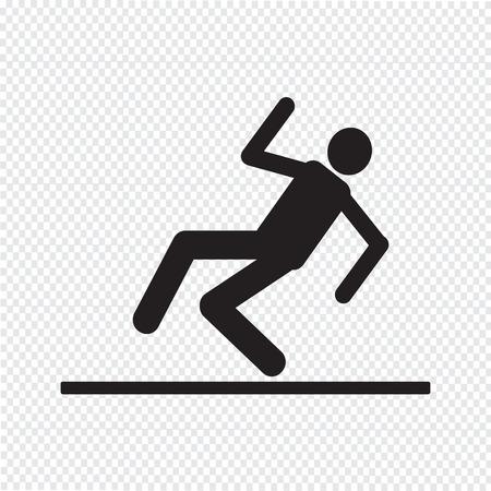slippery floor: slippery floor sign icon