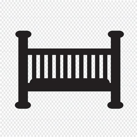 bebe cuna: Icono de Cuna Vectores