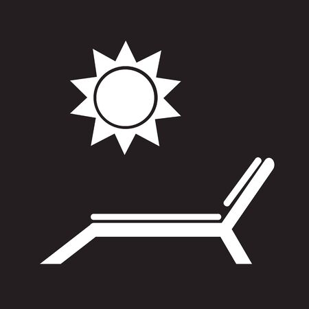 hot tour: Beach chair with sun icon Illustration
