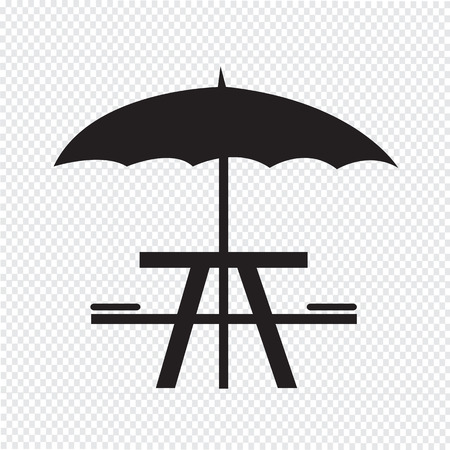 picnic table: umbrella with picnic table icon
