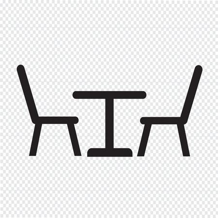 Tafel met stoelen pictogram Stock Illustratie