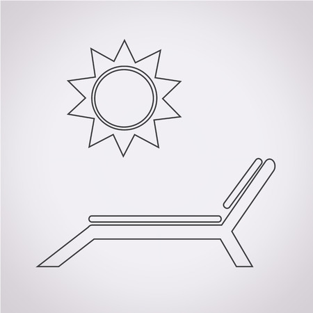 excursions: Beach chair with sun icon Illustration