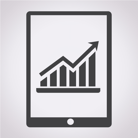 pc icon: Graph In Tablet PC Icon Illustration