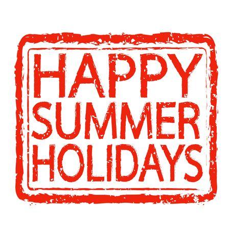 happy summer: HAPPY SUMMER HOLIDAYS stamp text design