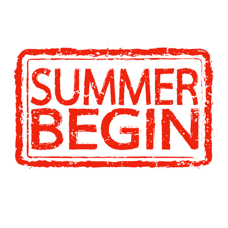 begin: SUMMER BEGIN stamp text design