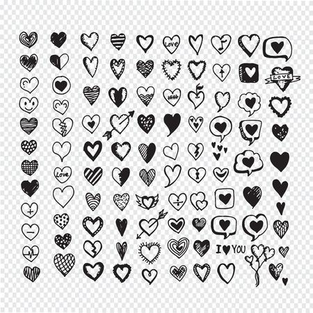 Hearts icon set. Hand drawn Illustration  イラスト・ベクター素材