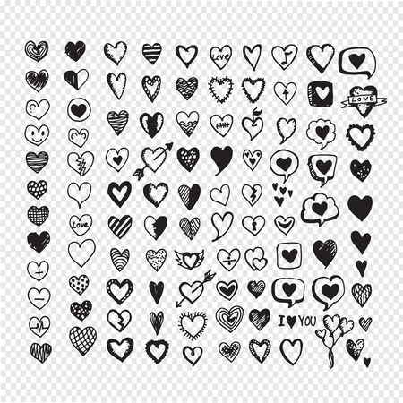 Hearts icon set. Hand drawn Illustration Иллюстрация