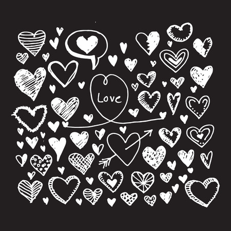 Hearts icon set. Hand drawn Illustration Ilustração