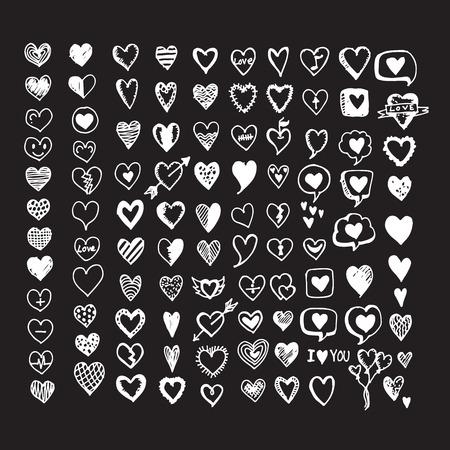 Hearts icon set. Hand drawn Illustration Vectores