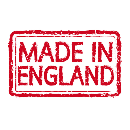 MADE IN england Rubber Stamp text Illustration