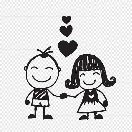 wedding couple hand drawn Ilustração
