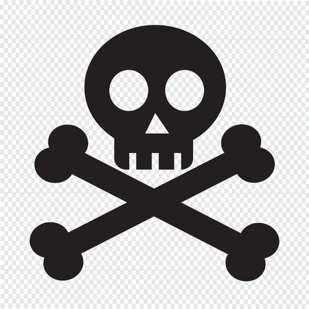 skull and cross bones: skull bone icon Illustration
