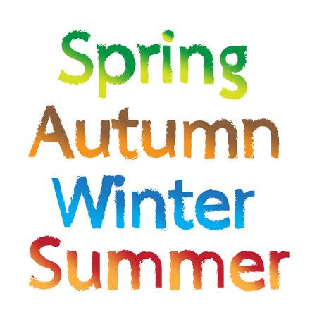 typography signature: Primavera, Oto�o, Invierno, Verano palabras de texto Ilustraci�n