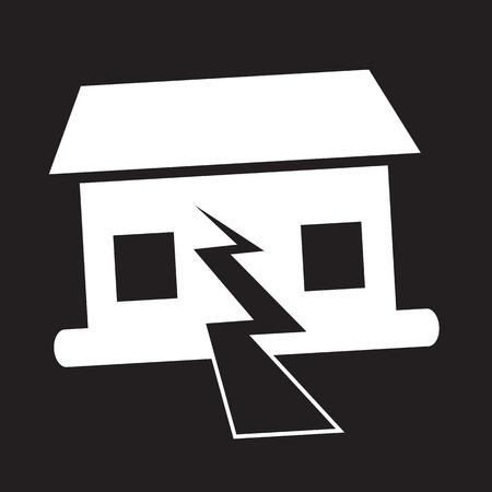 ruined house: Earthquake Symbol icon Illustration